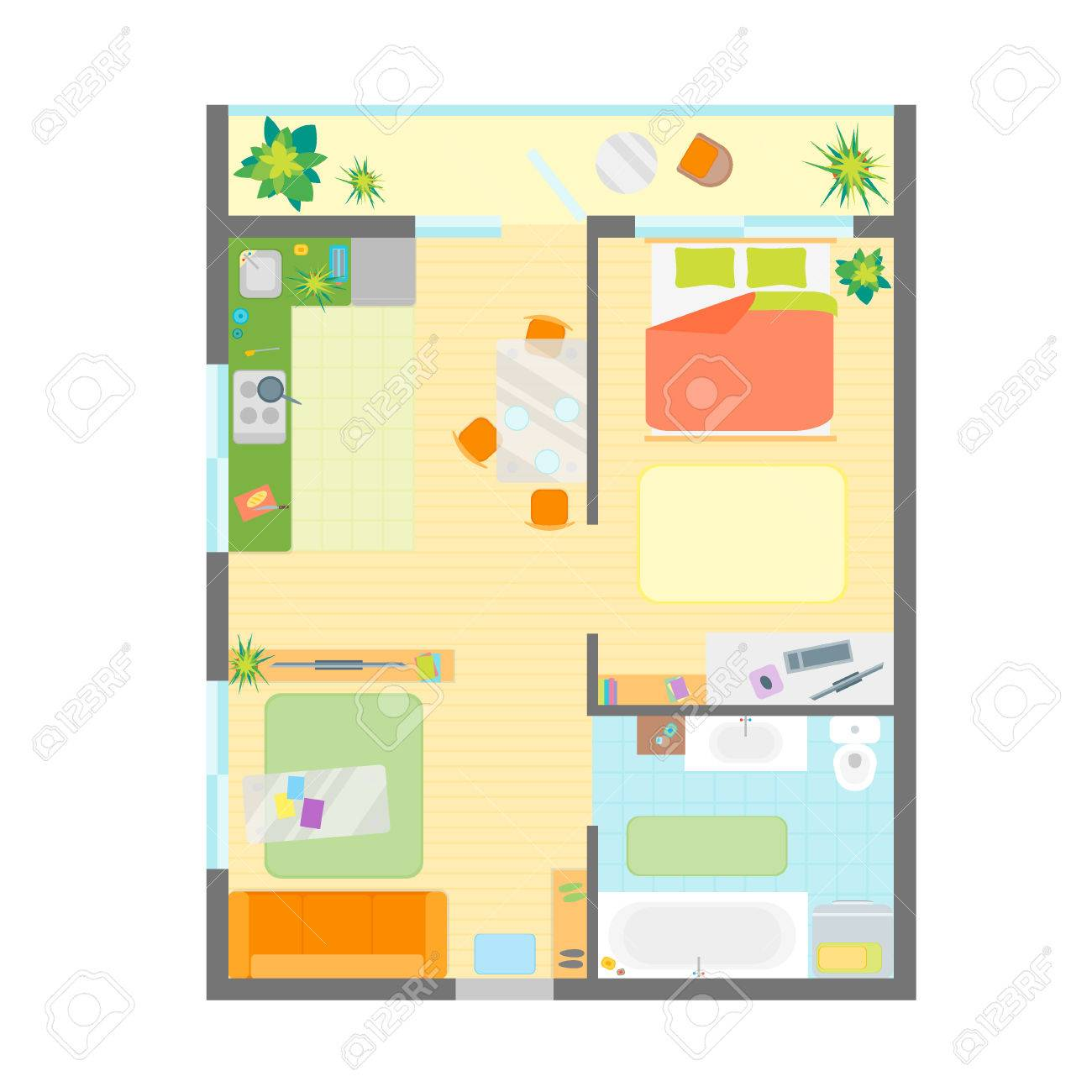 apartment floor plan with furniture top view engineering modern rh 123rf com