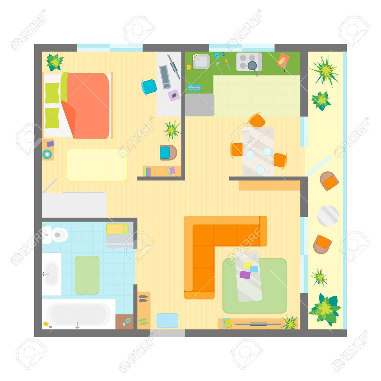 Apartment Grundriss Mit Möbel Top View Familie Wohnen Wohnung