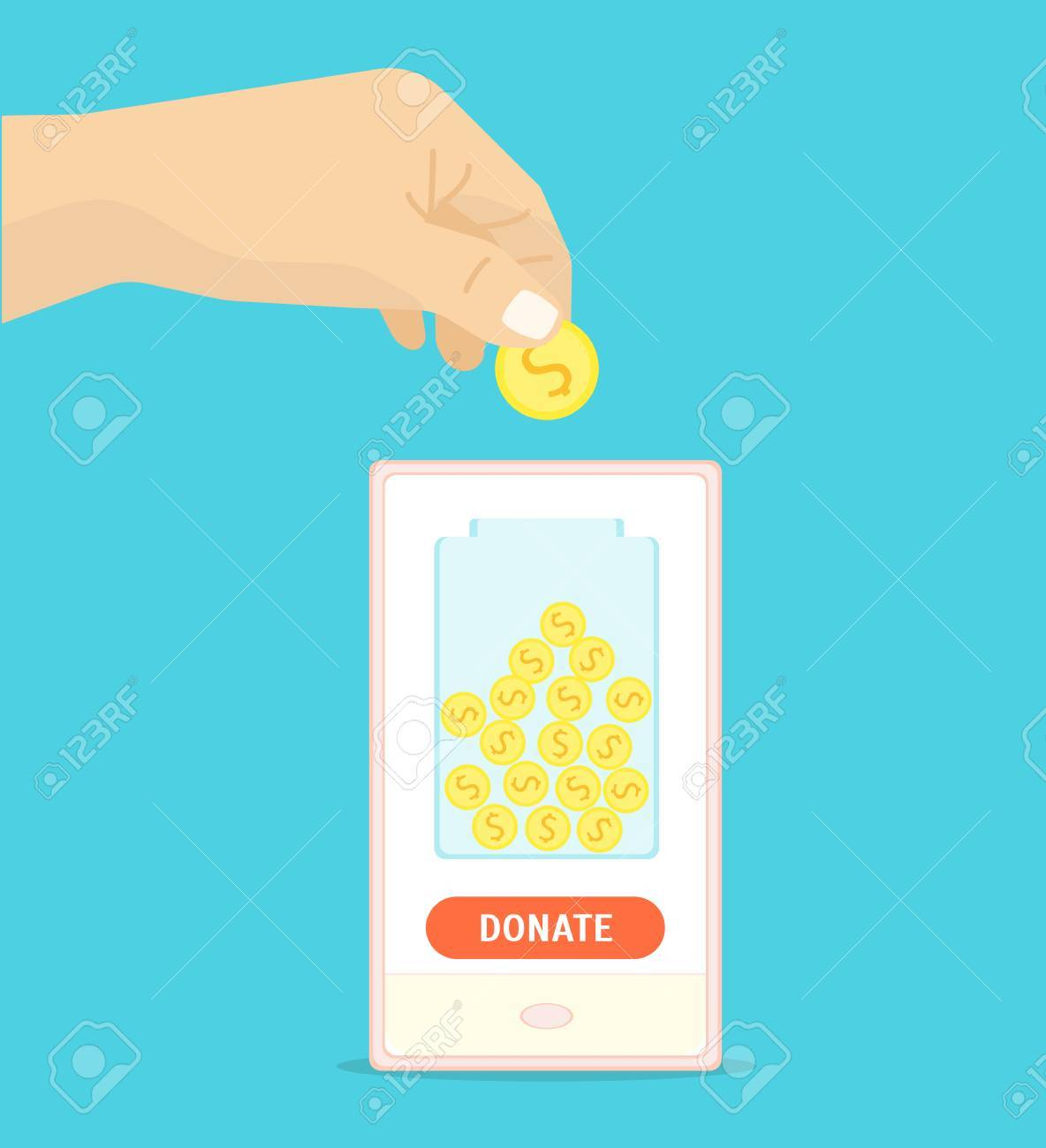 Donation Gold Coin in a Box Concept. Flat Design Style. Vector illustration Stock Vector  sc 1 st  123RF Stock Photos & Donation Gold Coin In A Box Concept. Flat Design Style. Vector ... Aboutintivar.Com