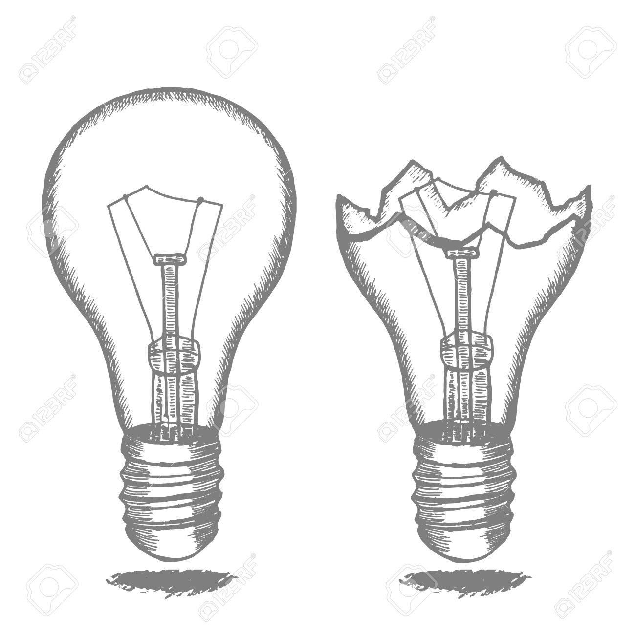 Lamp Bulb Hand Draw Sketch. Vector Stock Vector   69814521