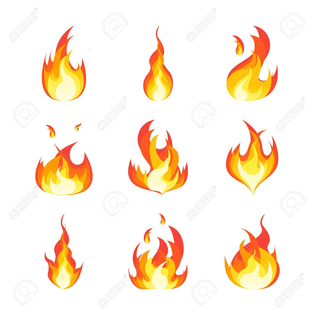 Ensemble De Flammes De Feu De Dessin Anime Clip Art Libres De