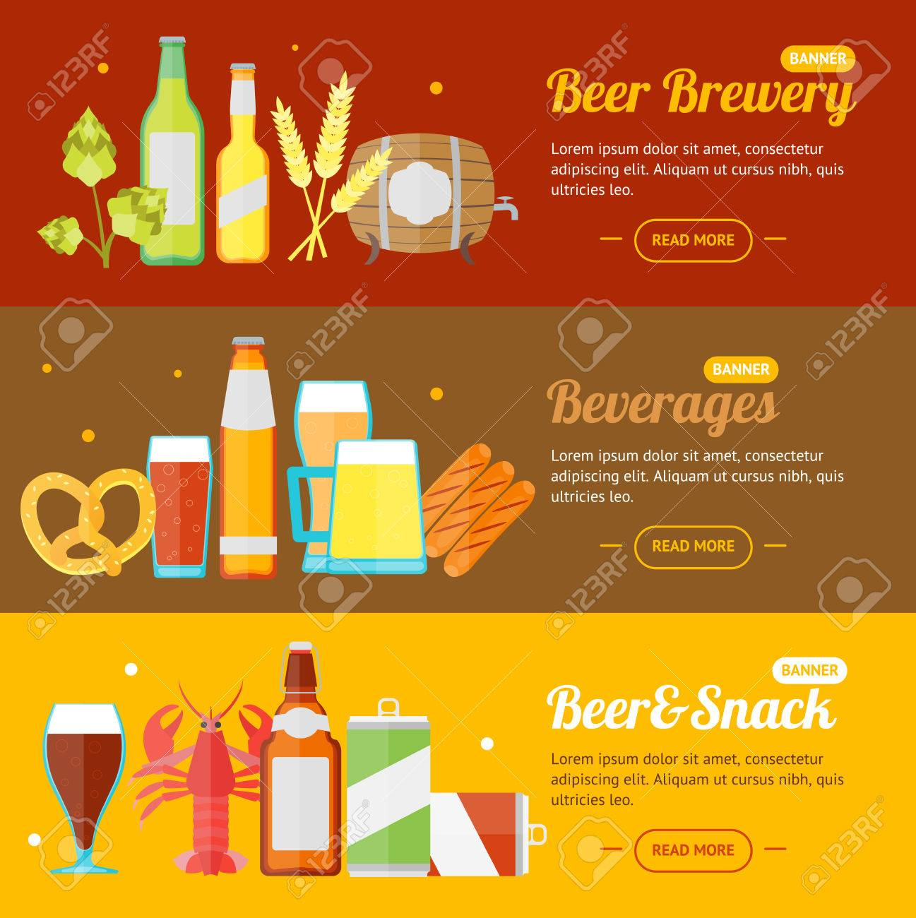 beer banner card horizontal set for bar restaurant pub or cafe