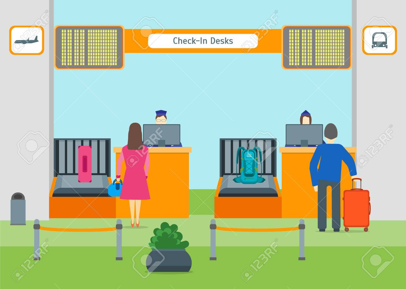 Cartoon Airport Check In Vector Royalty Free Cliparts Vectors And Stock Illustration Image 75929075