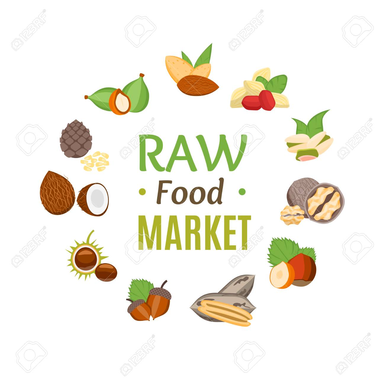 raw food market round design template witch nuts icons vector