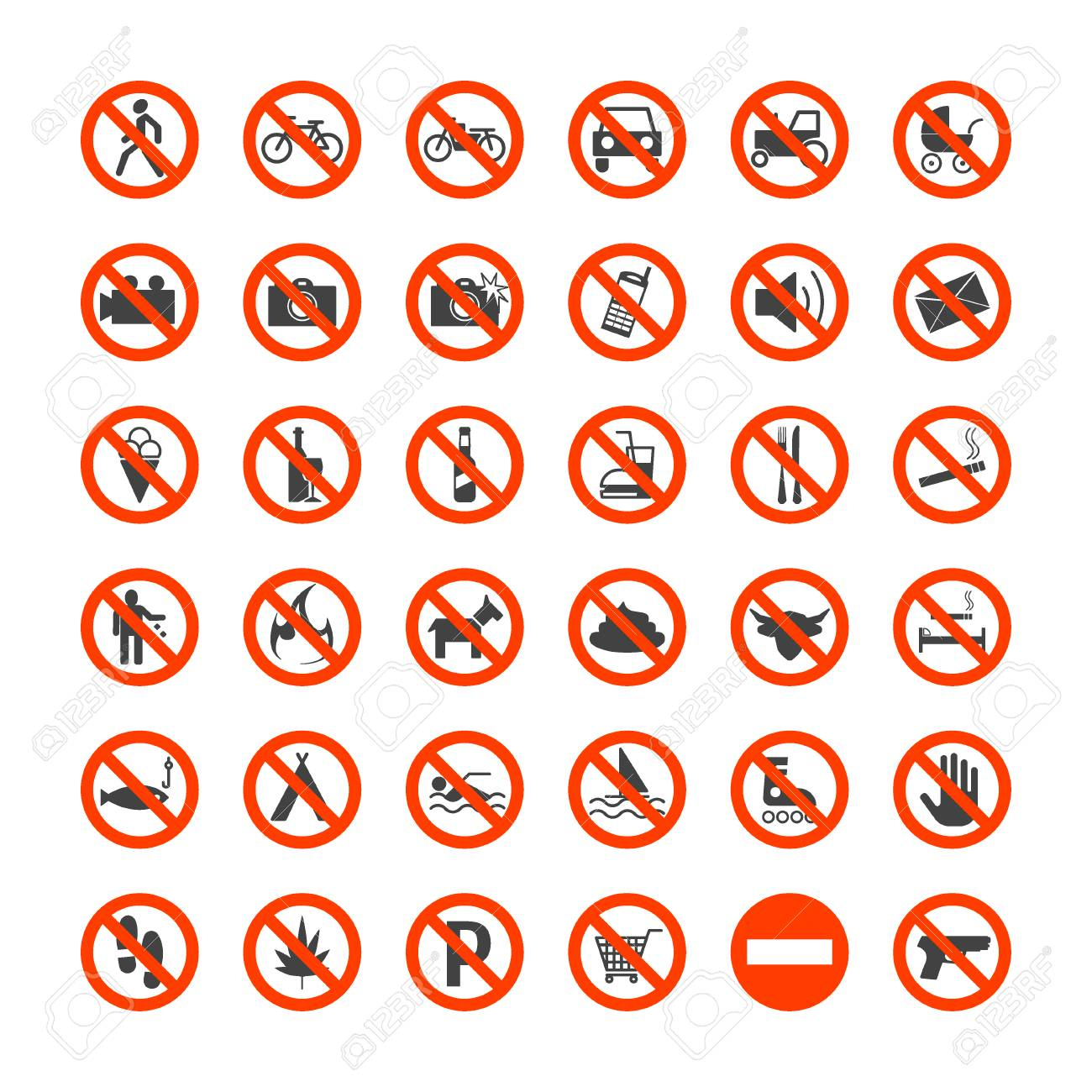 Prohibition Signs Icons Set Isolated On White Background Danger Electrical Symbol Icon A Stock Vector Illustration