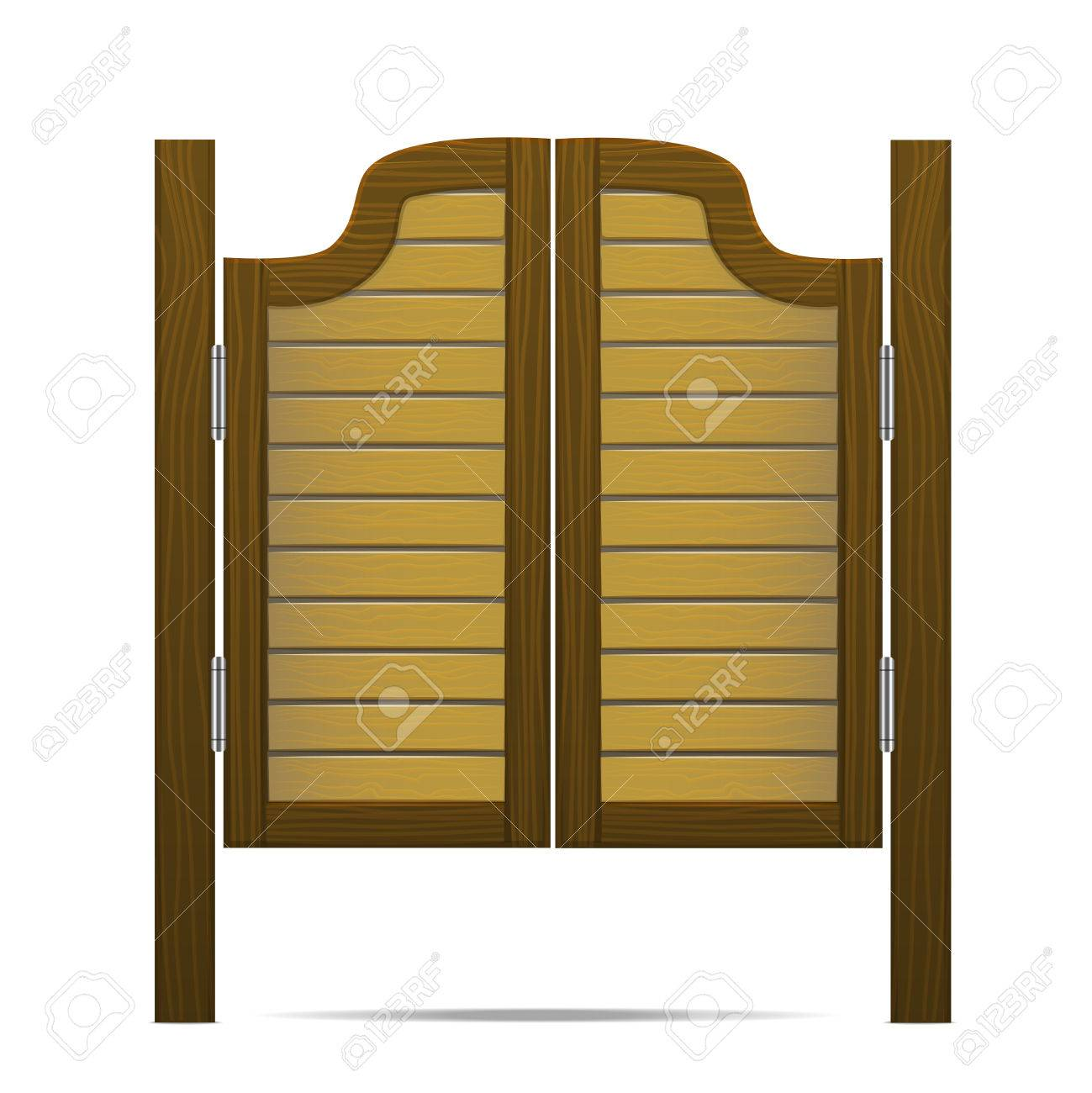 Wooden Brown Gate or Door in Salon Bar or Pub. Vector Stock Vector -  sc 1 st  123RF.com & Wooden Brown Gate Or Door In Salon Bar Or Pub. Vector Royalty ...