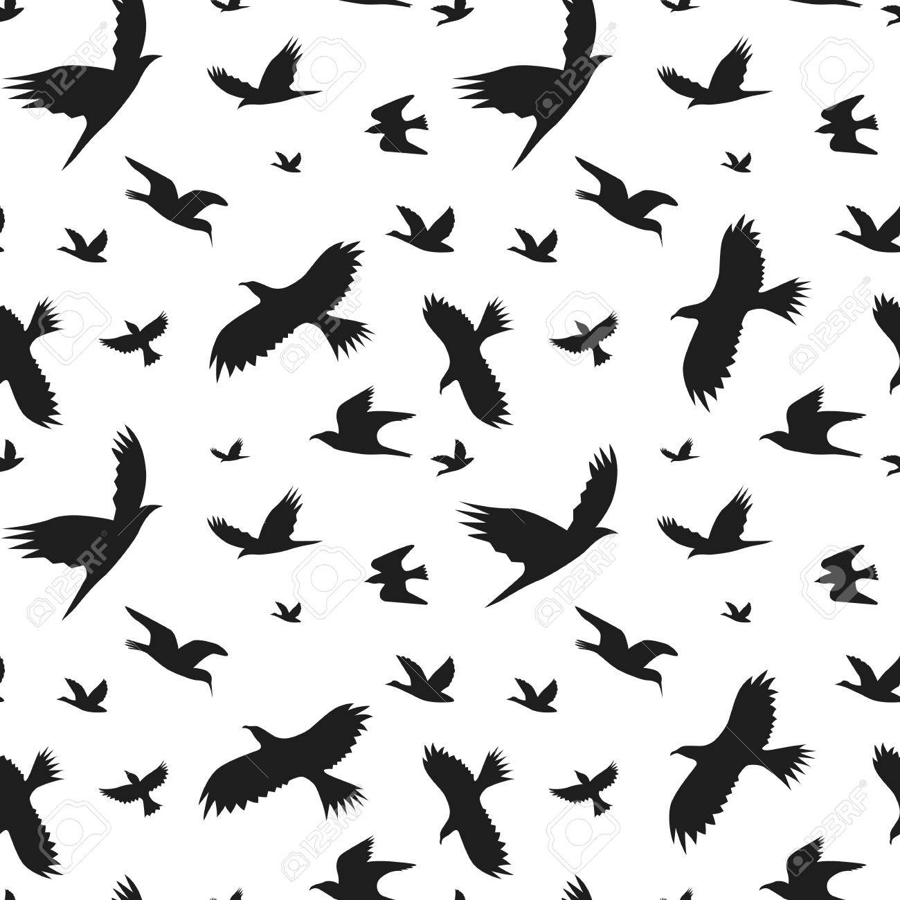 silhouette black fly birds background pattern vector royalty free