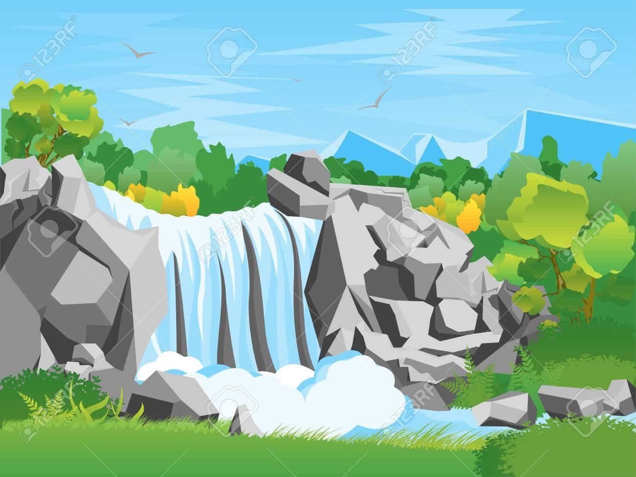Cartoon Waterfall Landscape Background Flat Design Nature Scene