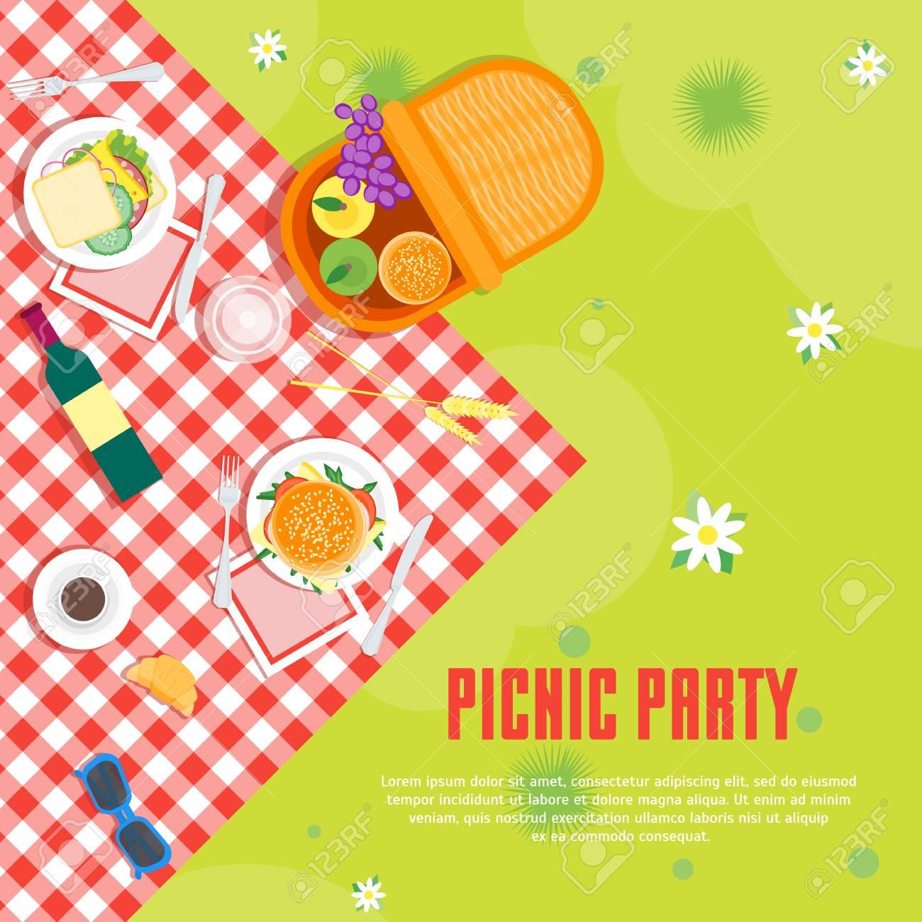Cartoon Summer Picnic in Park Basket Card Background. Vector - 82983577