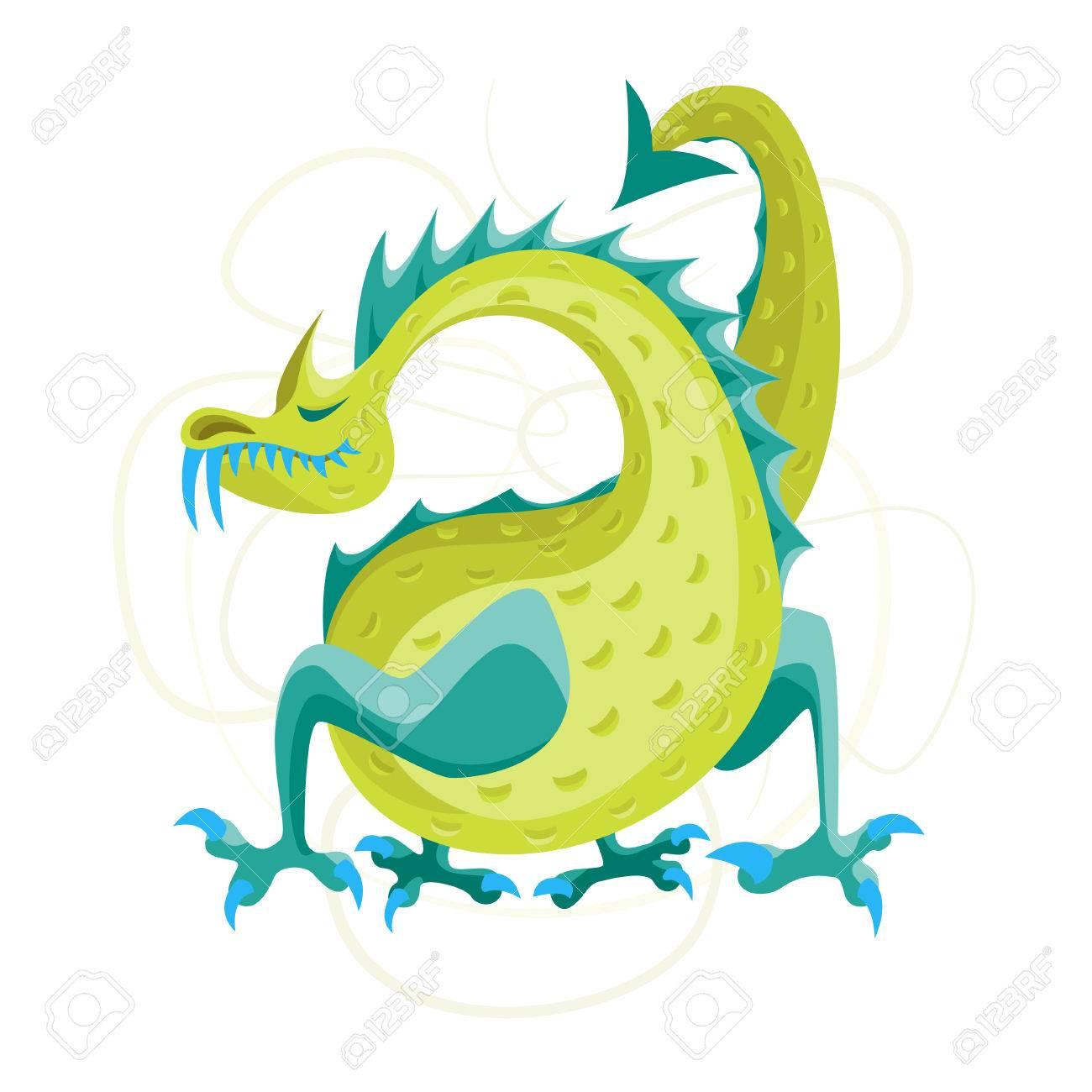 cartoon green fantasy animal dragon cute magic air or water