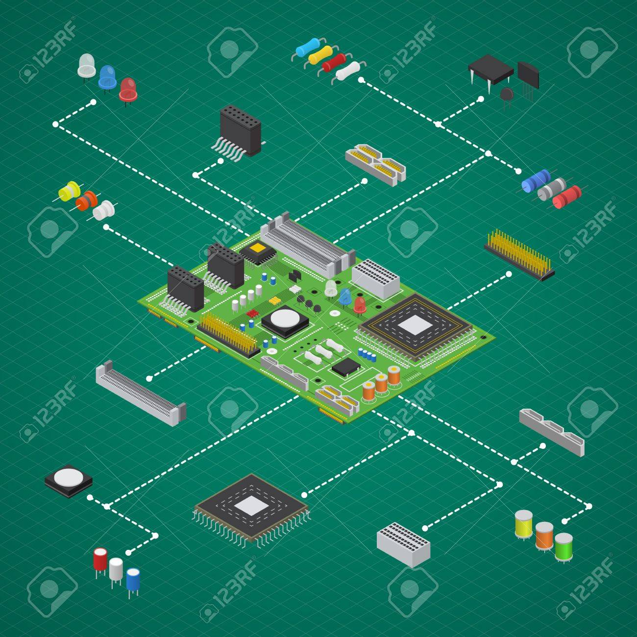 Computer Electronic Circuit Board Component Set Isometric View Design Vector Stock 84814468