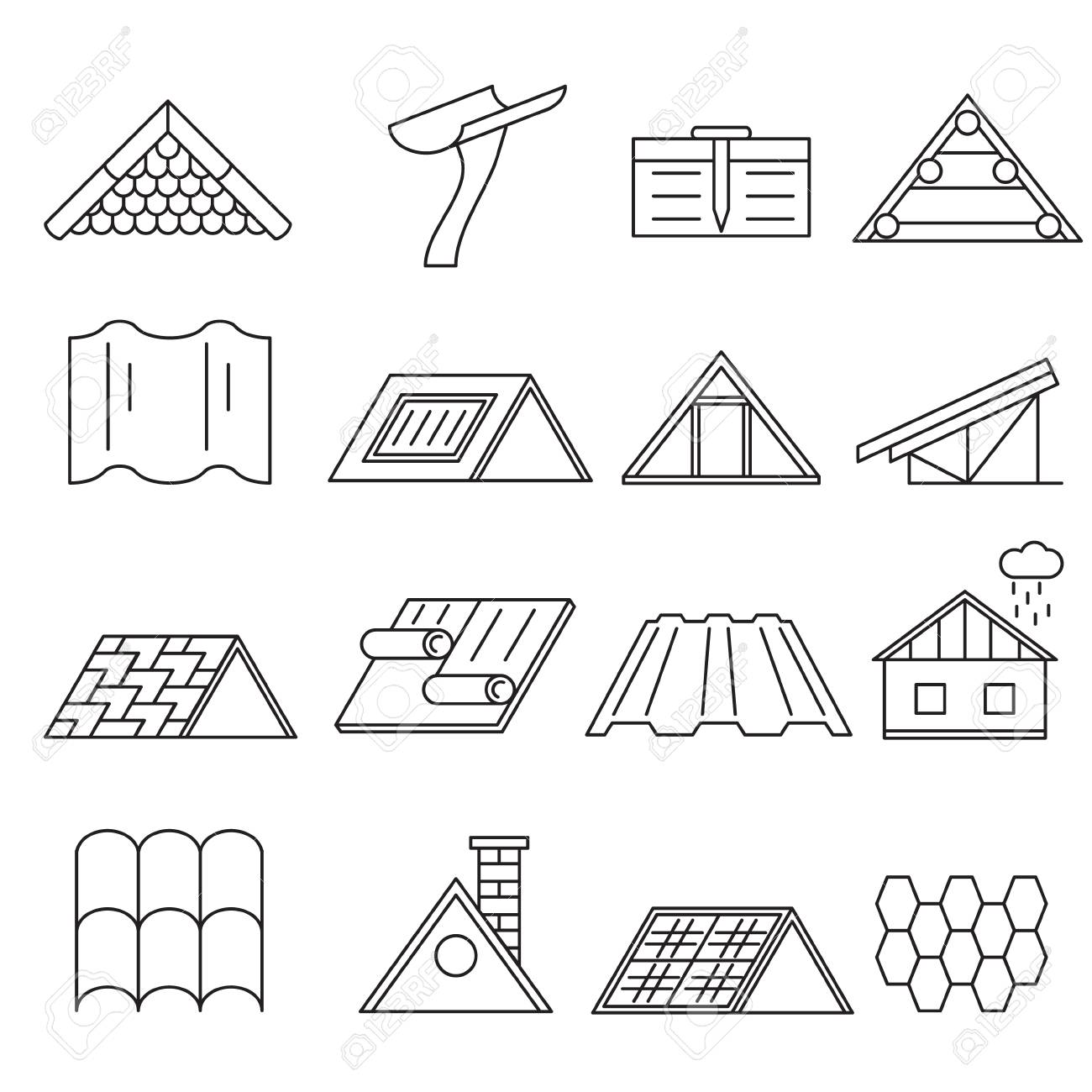 Concept House Roof Construction Thin Line Icon Set. Vector - 85203444