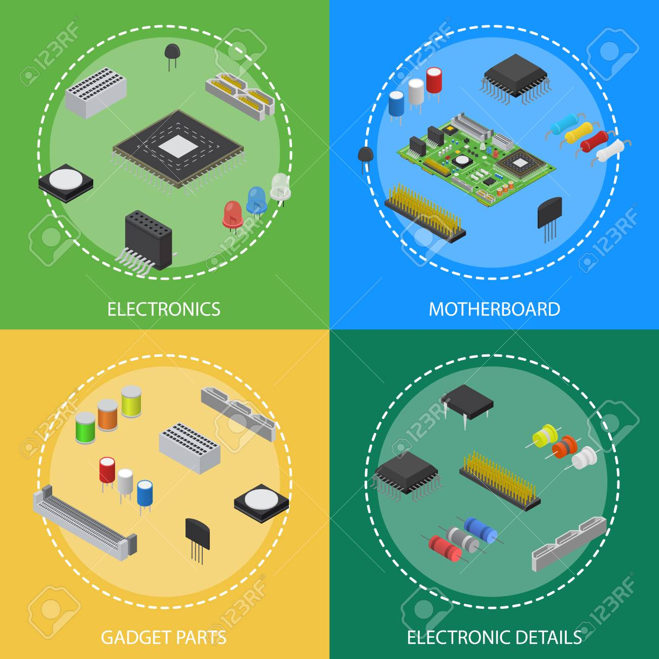 computer electronic circuit board component poster card set