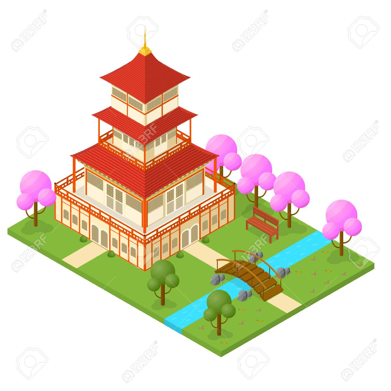 Japanese temple isometric view traditional building on a landscape japanese temple isometric view traditional building on a landscape background oriental symbol travel business vector biocorpaavc Gallery