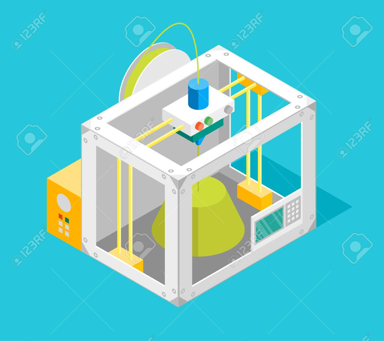 3d Printer Flat Design Style Isometric View. Vector - 88064131
