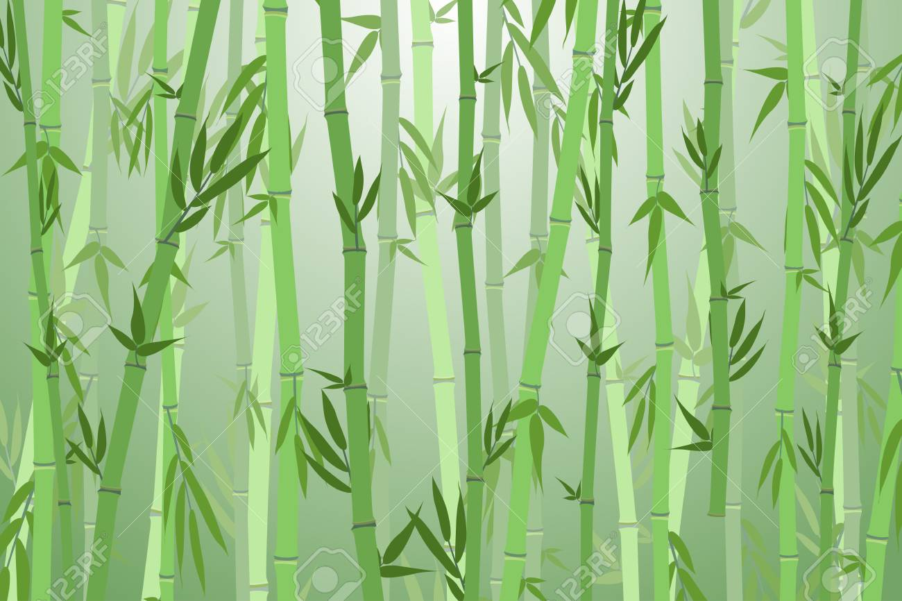 Cartoon Bamboo Forest Landscape Background Vector Royalty Free