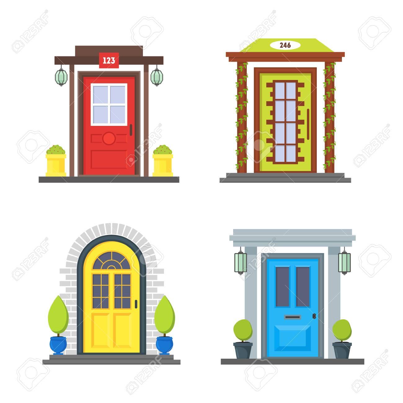 Cartoon Color Front Door Of House Icon Set Urban Architecture Of Facade  Building Concept Flat Design