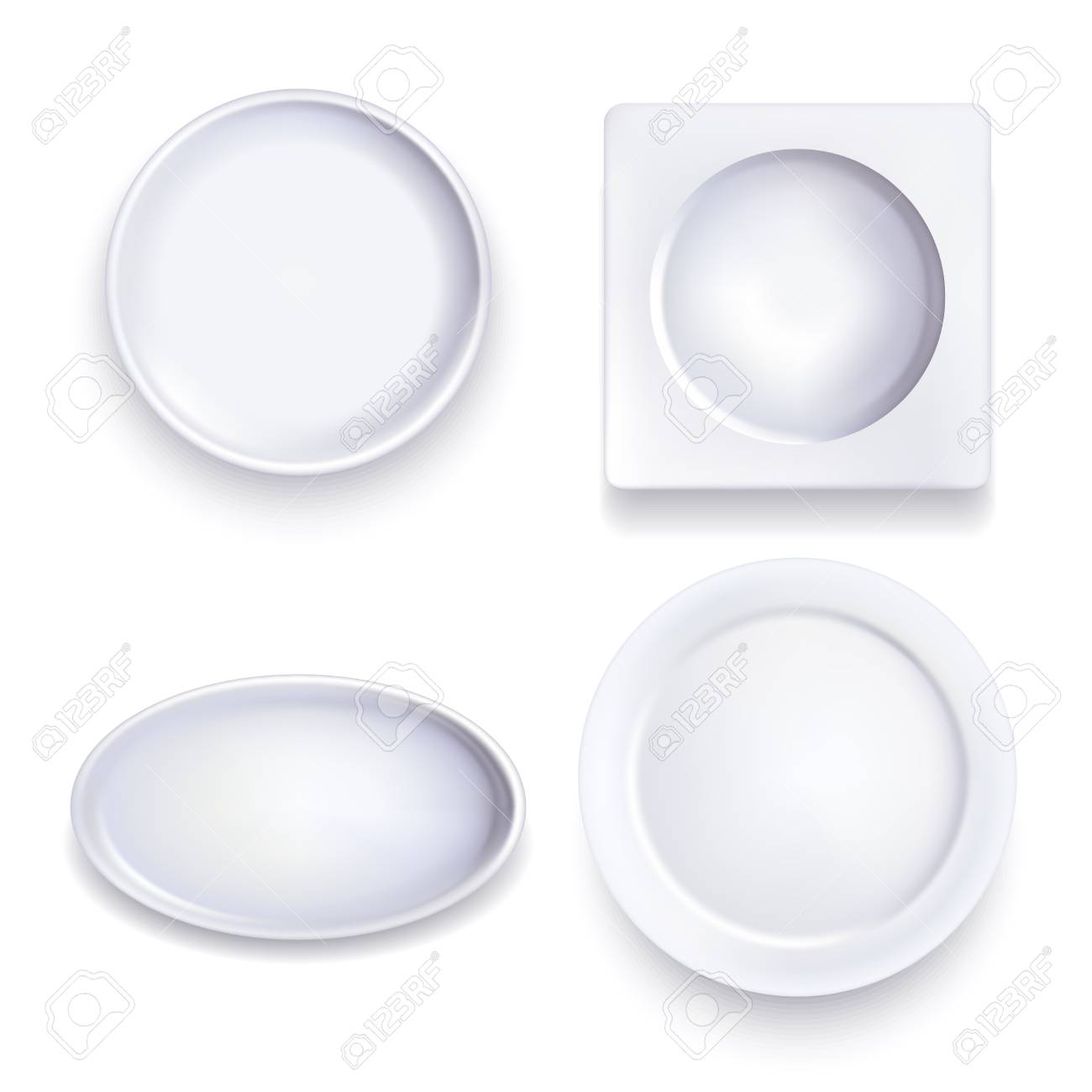 Realistic Detailed 3d Template Blank White Various Food Plates ...