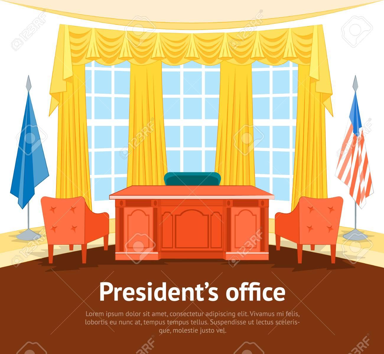 affiche de carte de bureau du gouvernement intrieur de prsident de bande dessine avec des meubles