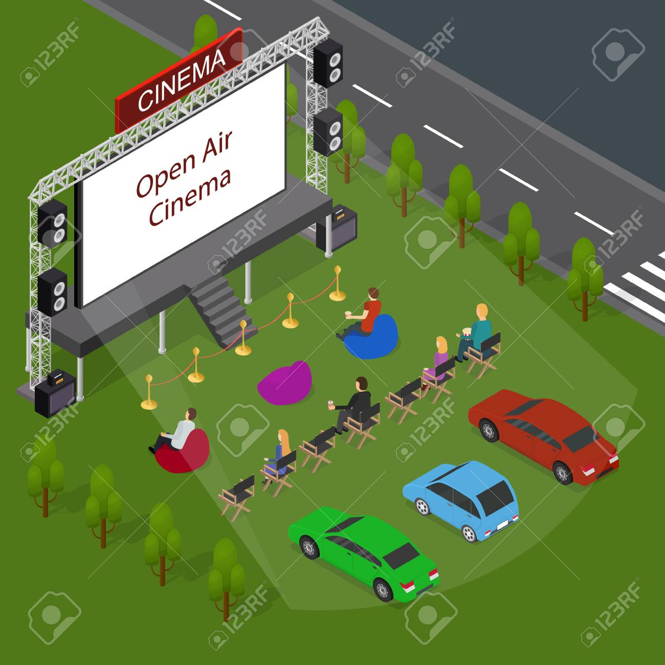 Open Air Cinema Concept 3d Isometric View. Vector - 90139887