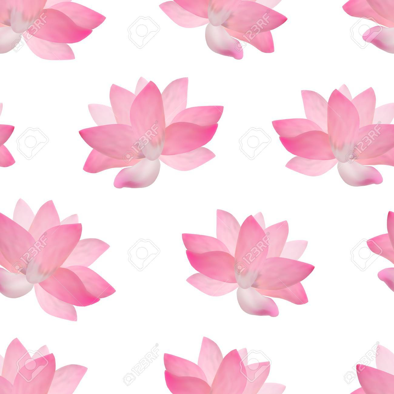 Realistic Detailed Pink Lotus Flower Background Pattern Vector