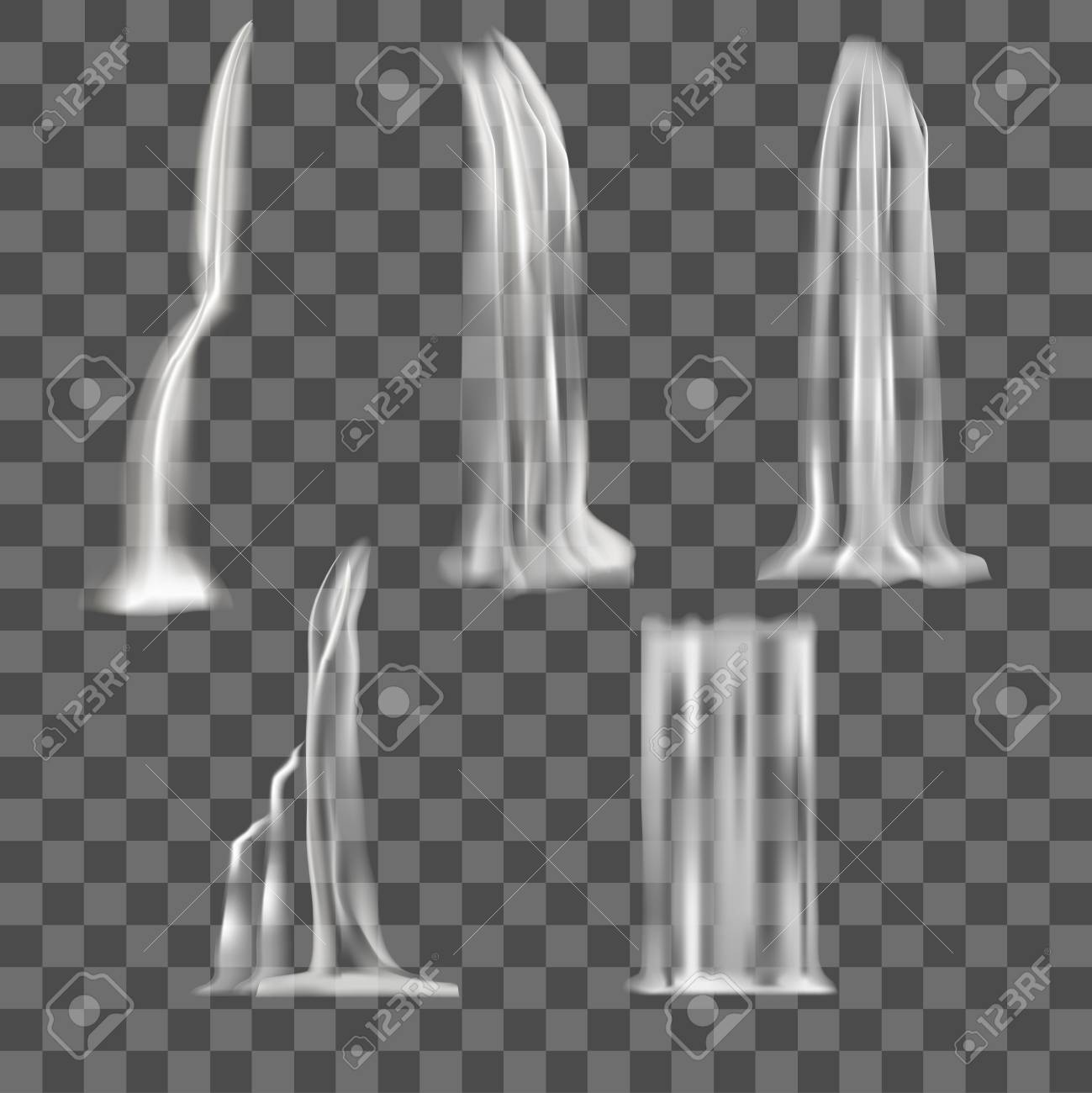 Realistic Detailed 3d Waterfall Elements Set. Vector - 90511909