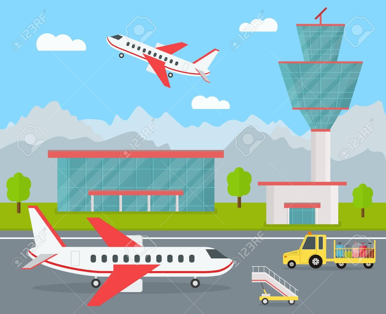 cartoon airport building and airplanes vector illustration royalty rh 123rf com Airplane Emoji Airplane Silhouette