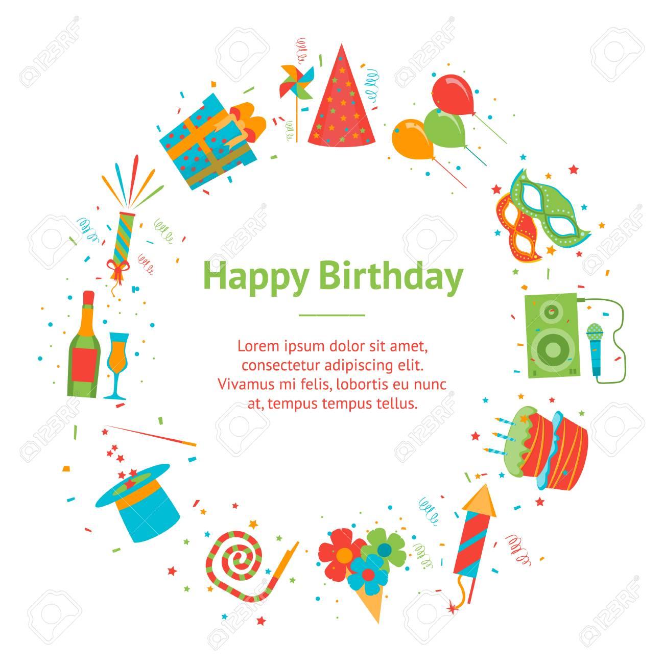 Happy Birthday greeting card design, vector illustration