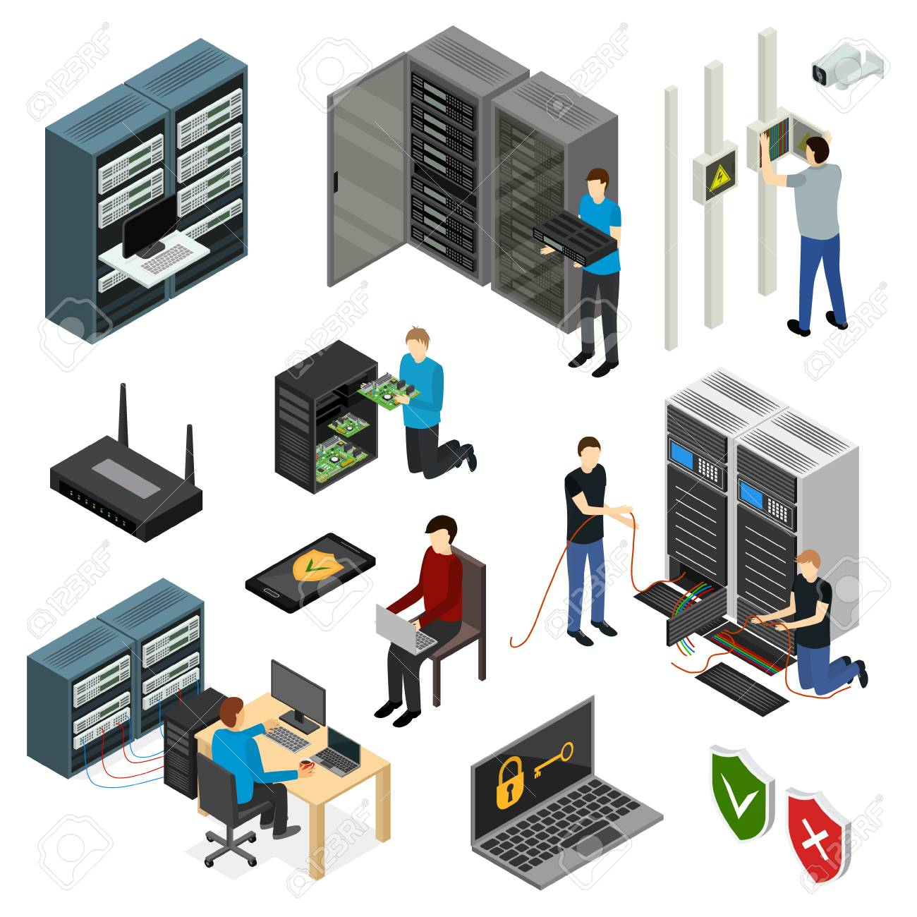 Server Hardware Signs Icons Set Isometric View Isolated on White Background. Vector illustration of Icon Technology Network Computer - 94932059