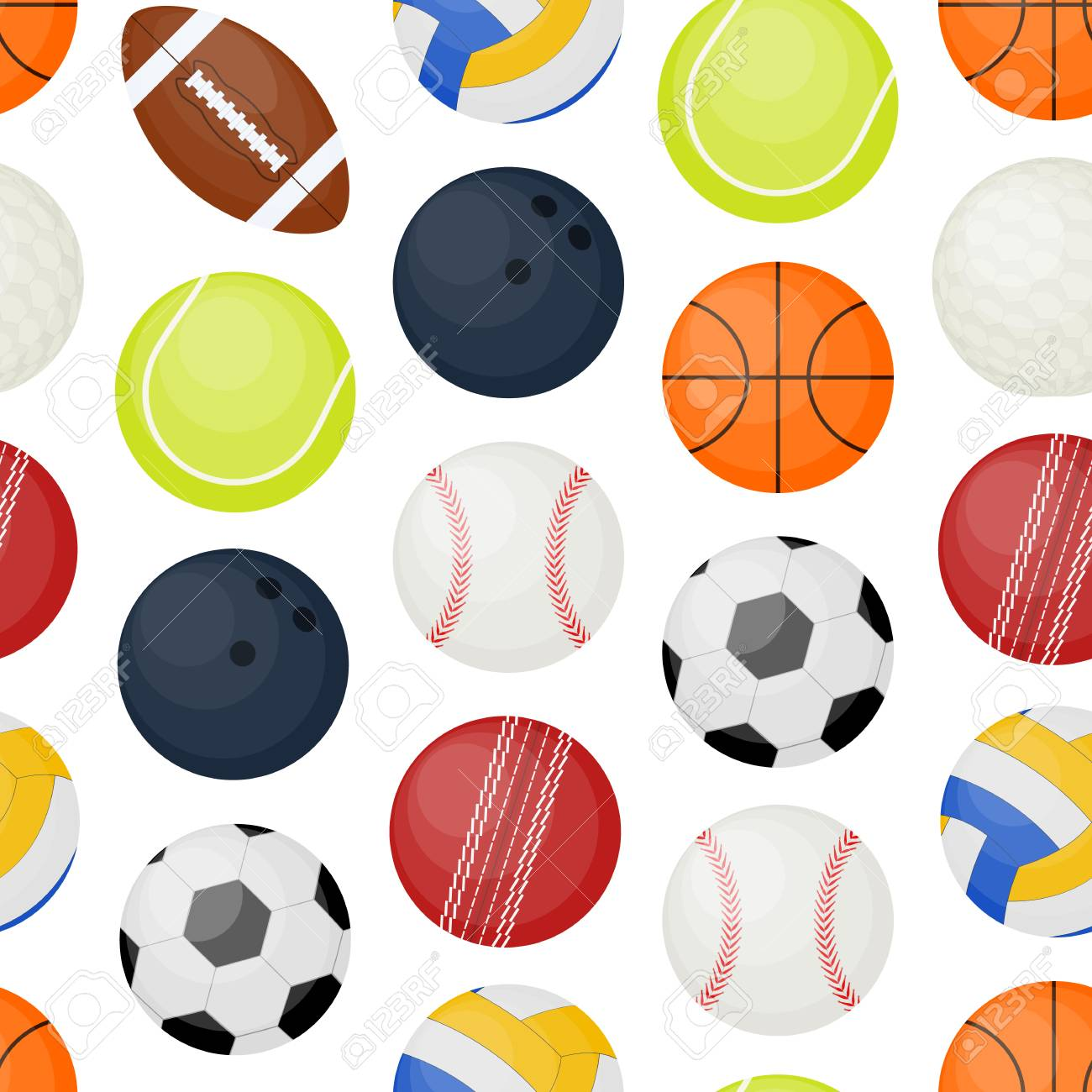 Sports Balls Seamless Pattern Background On A White Game Of Leisure And Hobby Include