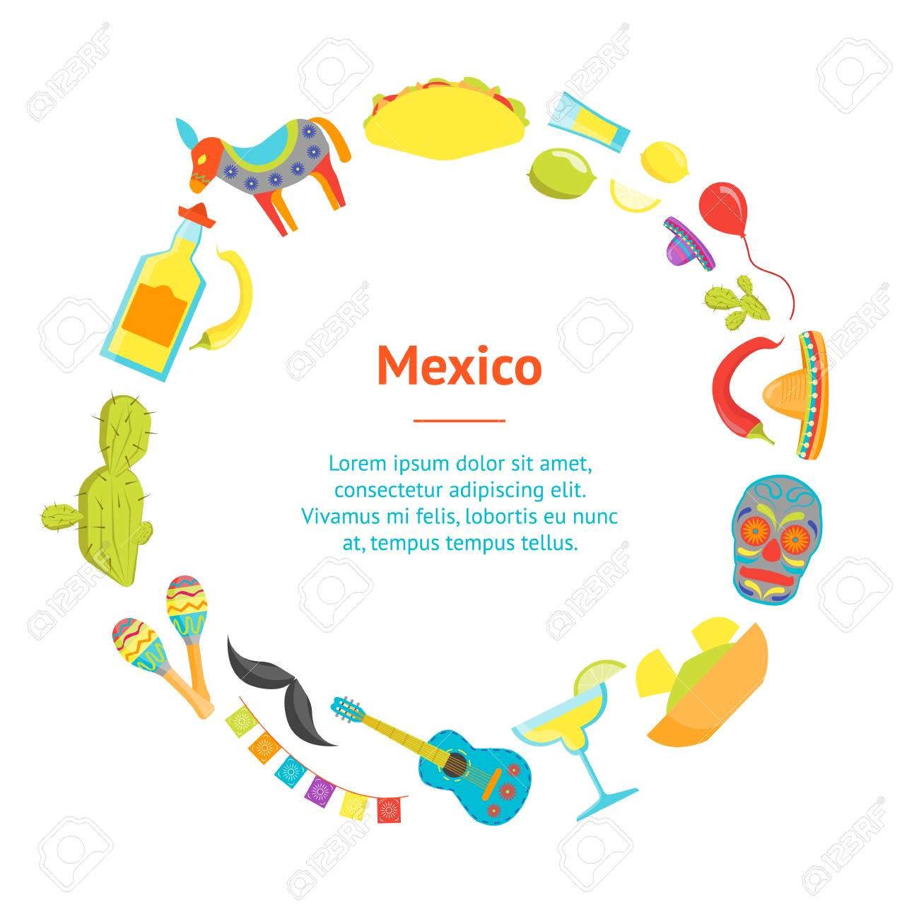 Cartoon Symbol Of Mexico Banner Card Circle Welcome Travel Concept