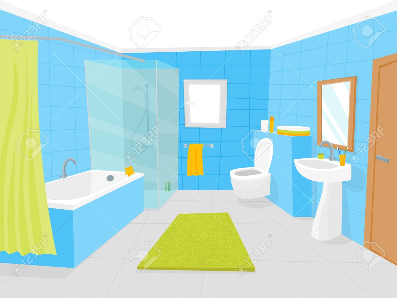 Cartoon Bathroom Interior With Furniture Card Poster Vector Royalty Free Cliparts Vectors And Stock Illustration Image 97677696