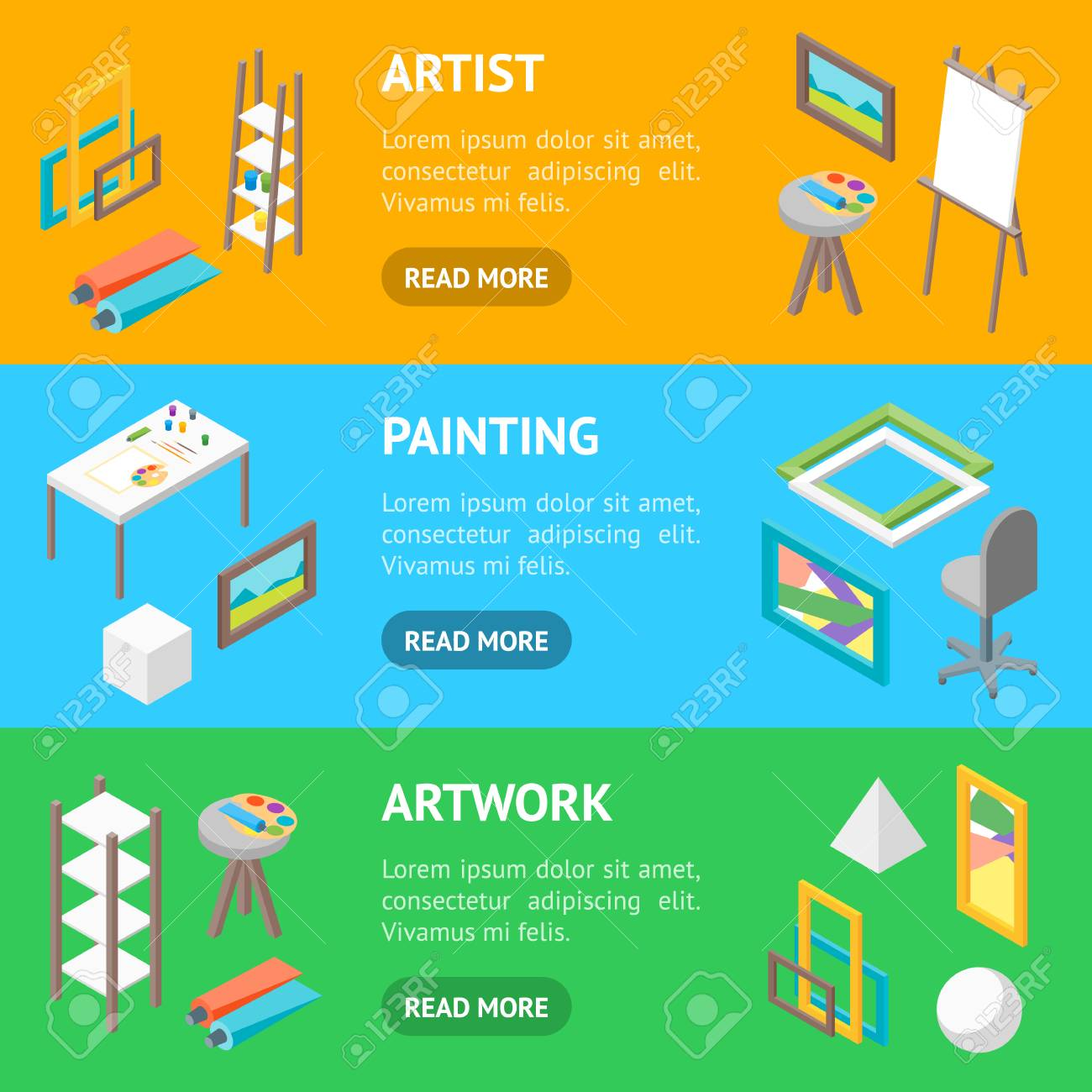 Artist Workplace Interior with Furniture Banner Horizontal Set..