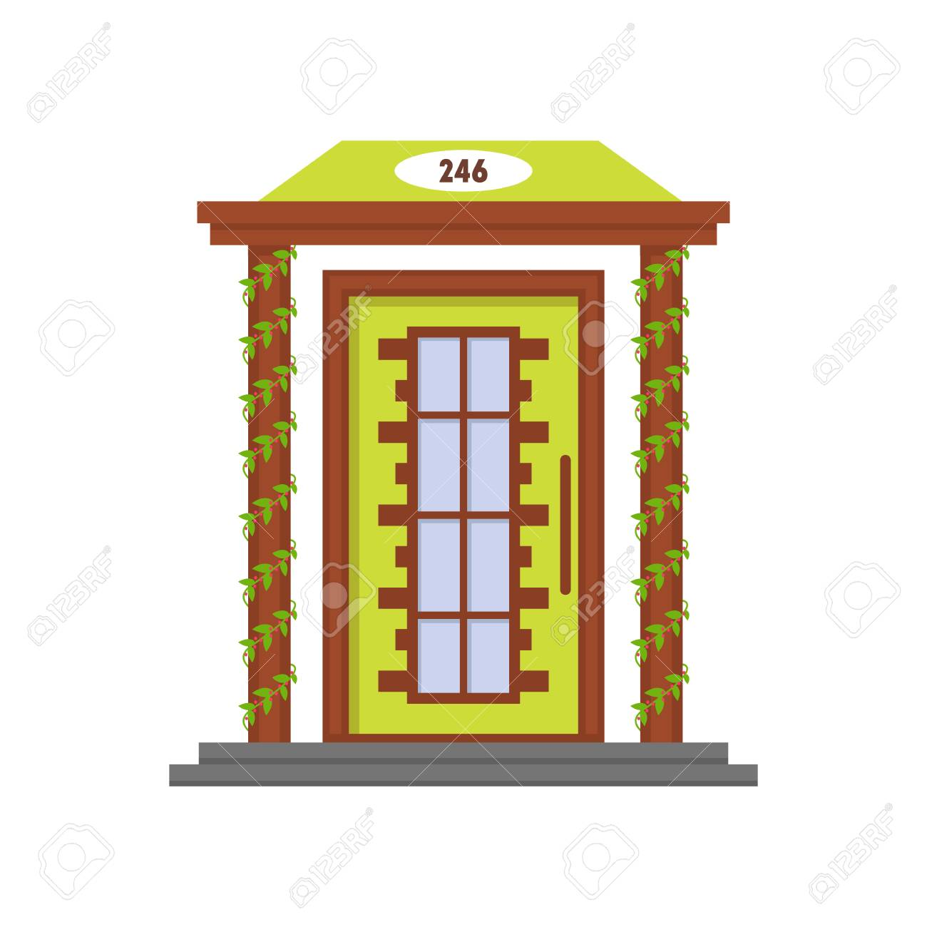 Cartoon Green Front Door Of House Vector Illustration Royalty Free