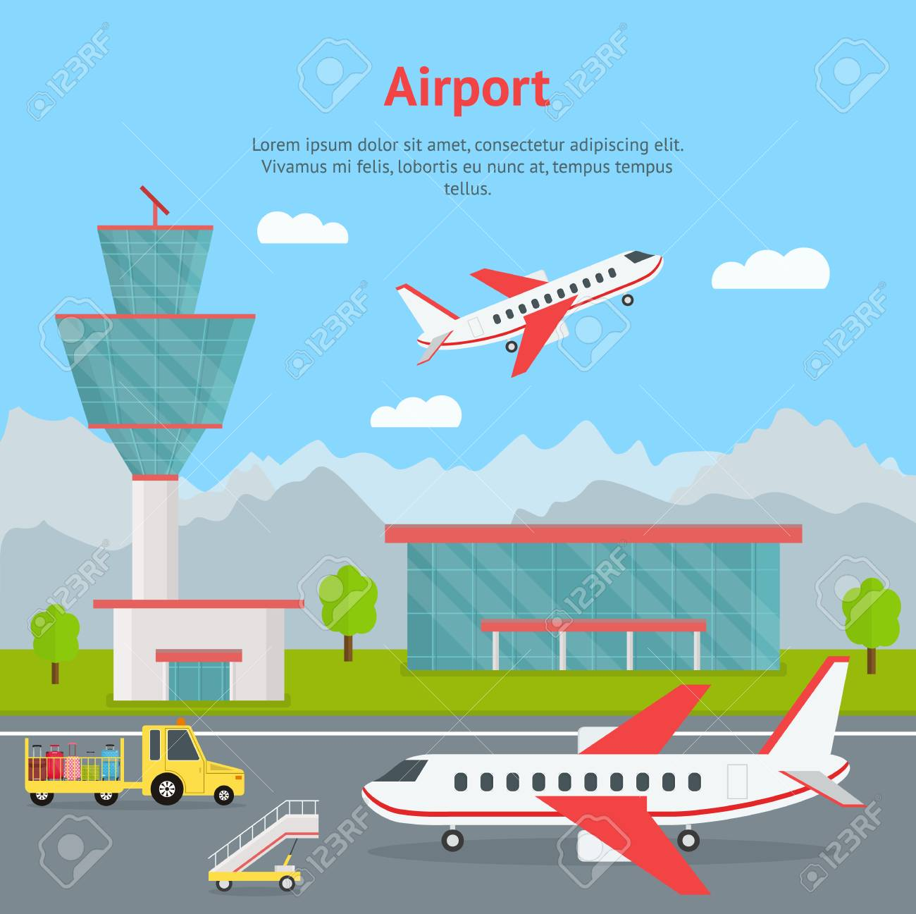 Cartoon Airport Building and Airplanes Concept Card. Vector - 103170019