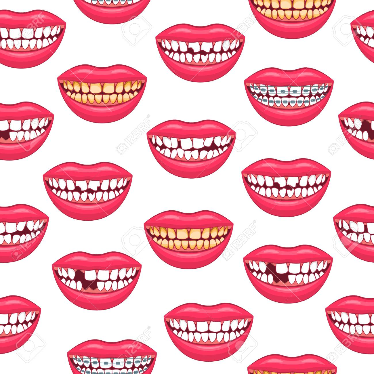 Realistic Detailed 3d Dental Problems Seamless Pattern Background