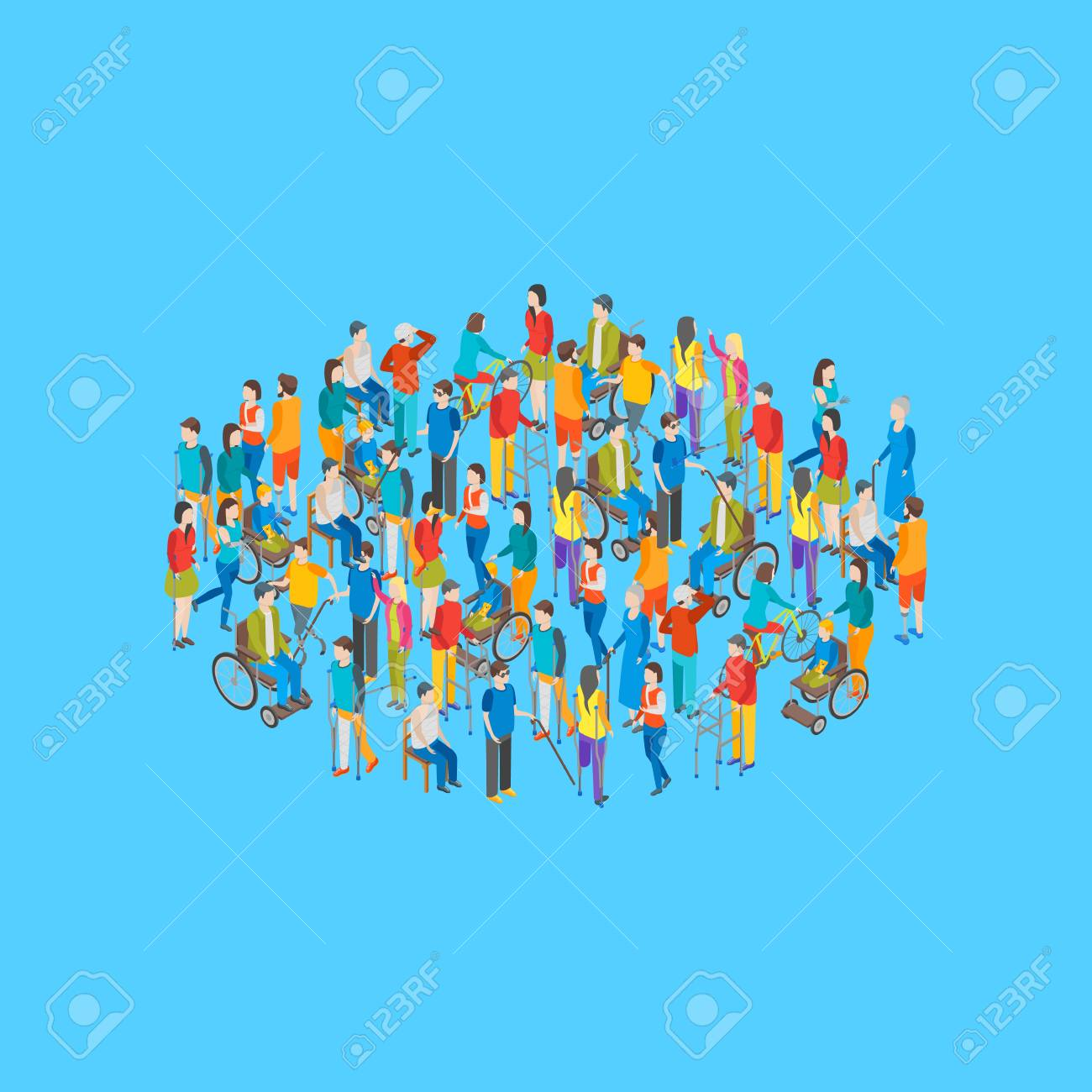 Isometric Disabled People Characters Grouping on a Blue Background. Vector - 109505510