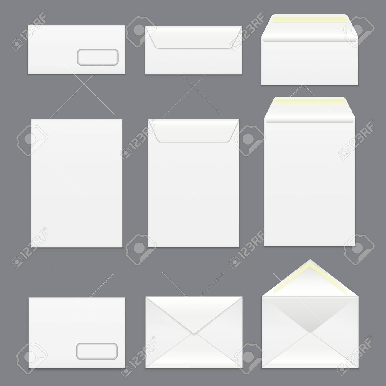 realistic detailed 3d white blank envelopes template mockup set