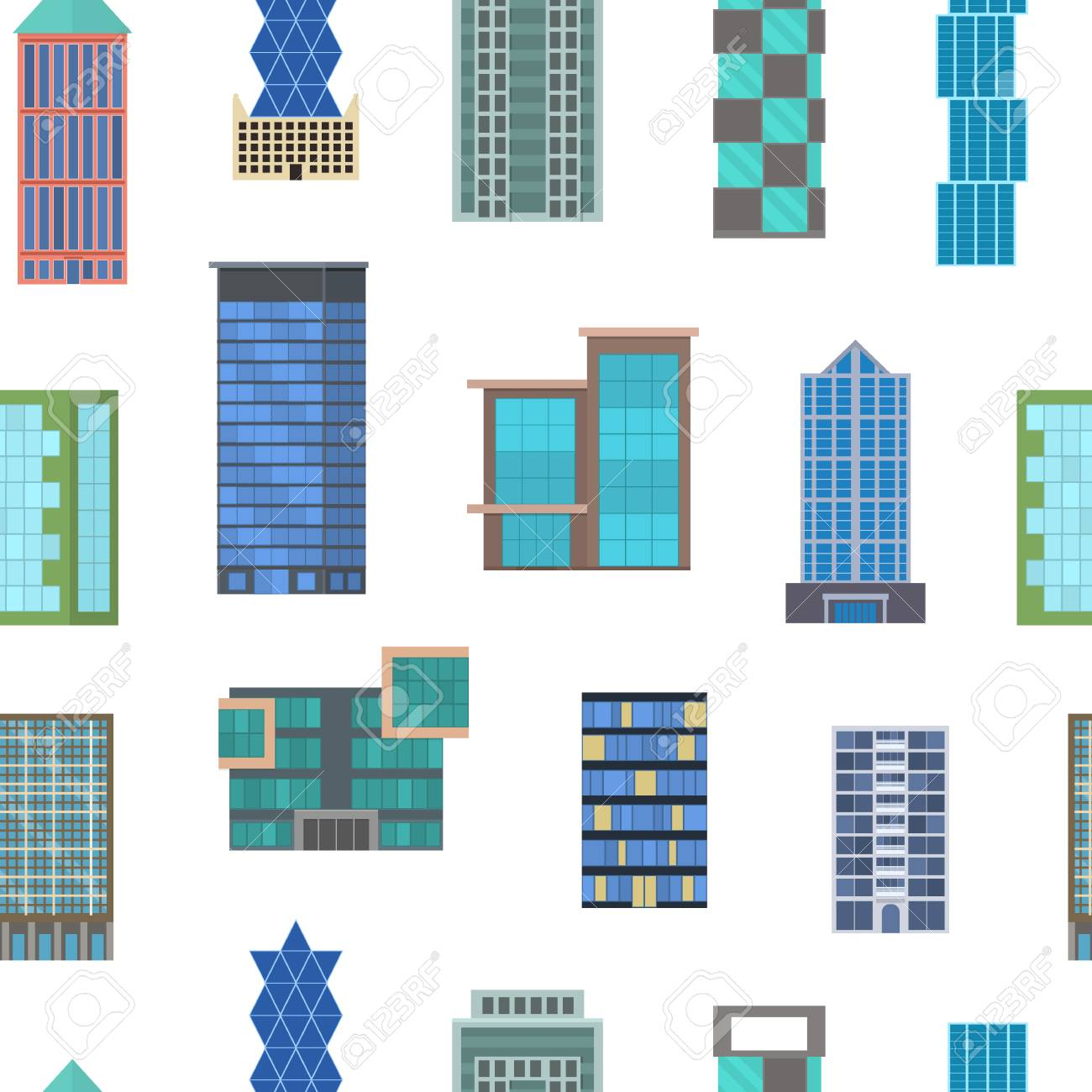 Cartoon Buildings Signs Seamless Pattern Background on a White Modern Urban Architecture Construction Office or Home Concept Flat Design Style. Vector illustration of Building - 126023852