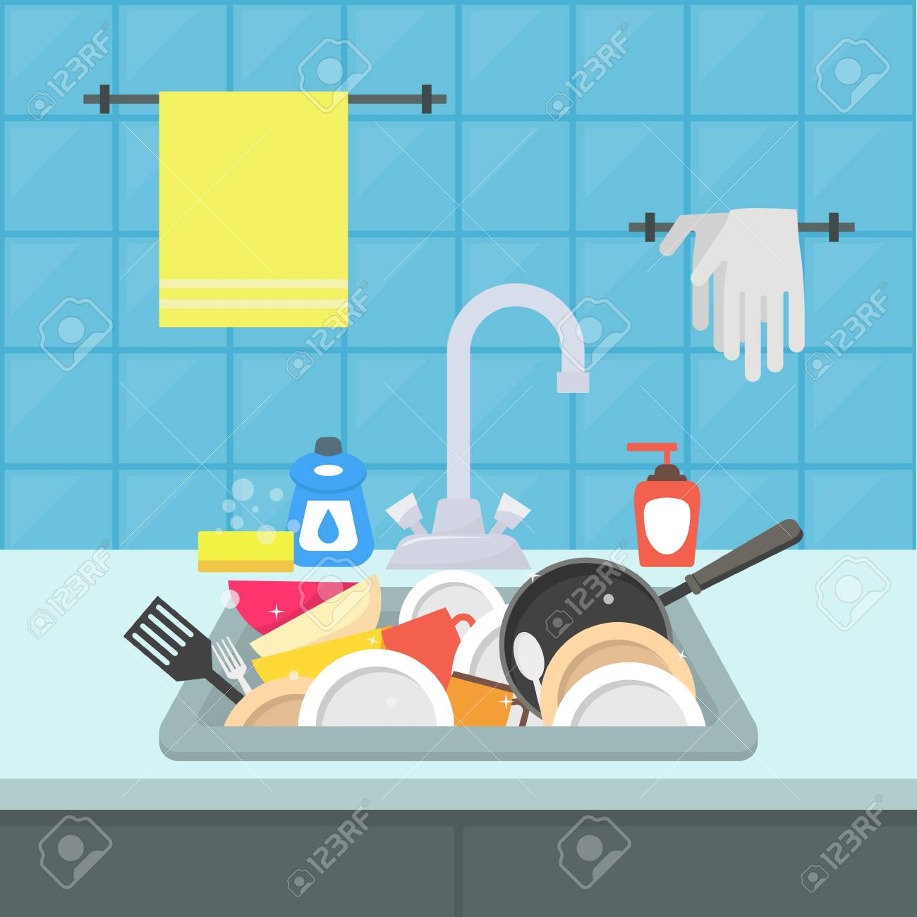 Cartoon Kitchen Sink With Different Kitchenware Vector Royalty Free Cliparts Vectors And Stock Illustration Image 117253979