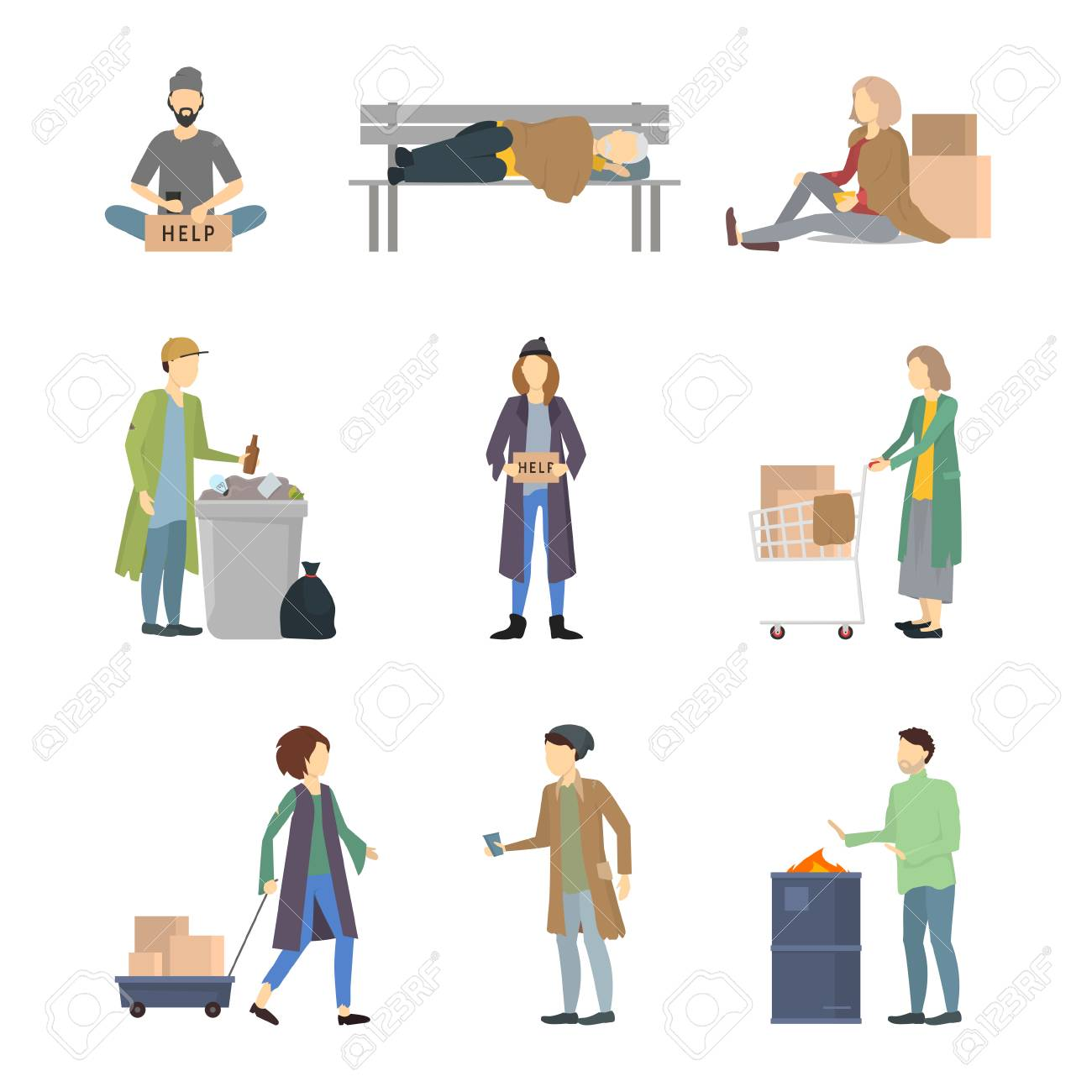 Cartoon Characters Homeless People Different Types Set Needy in Social Help Concept. Vector illustration of Poor and Dirty Person - 124635628