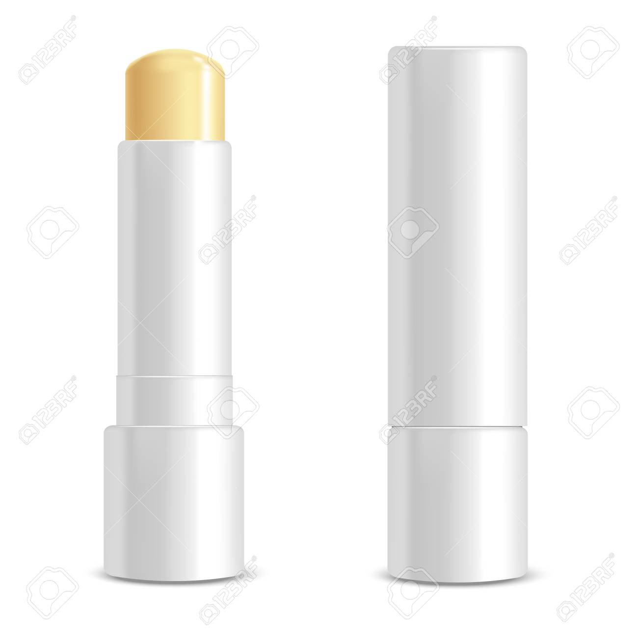 Realistic 3d Detailed White Blank Lip Balm Stick Template Mockup