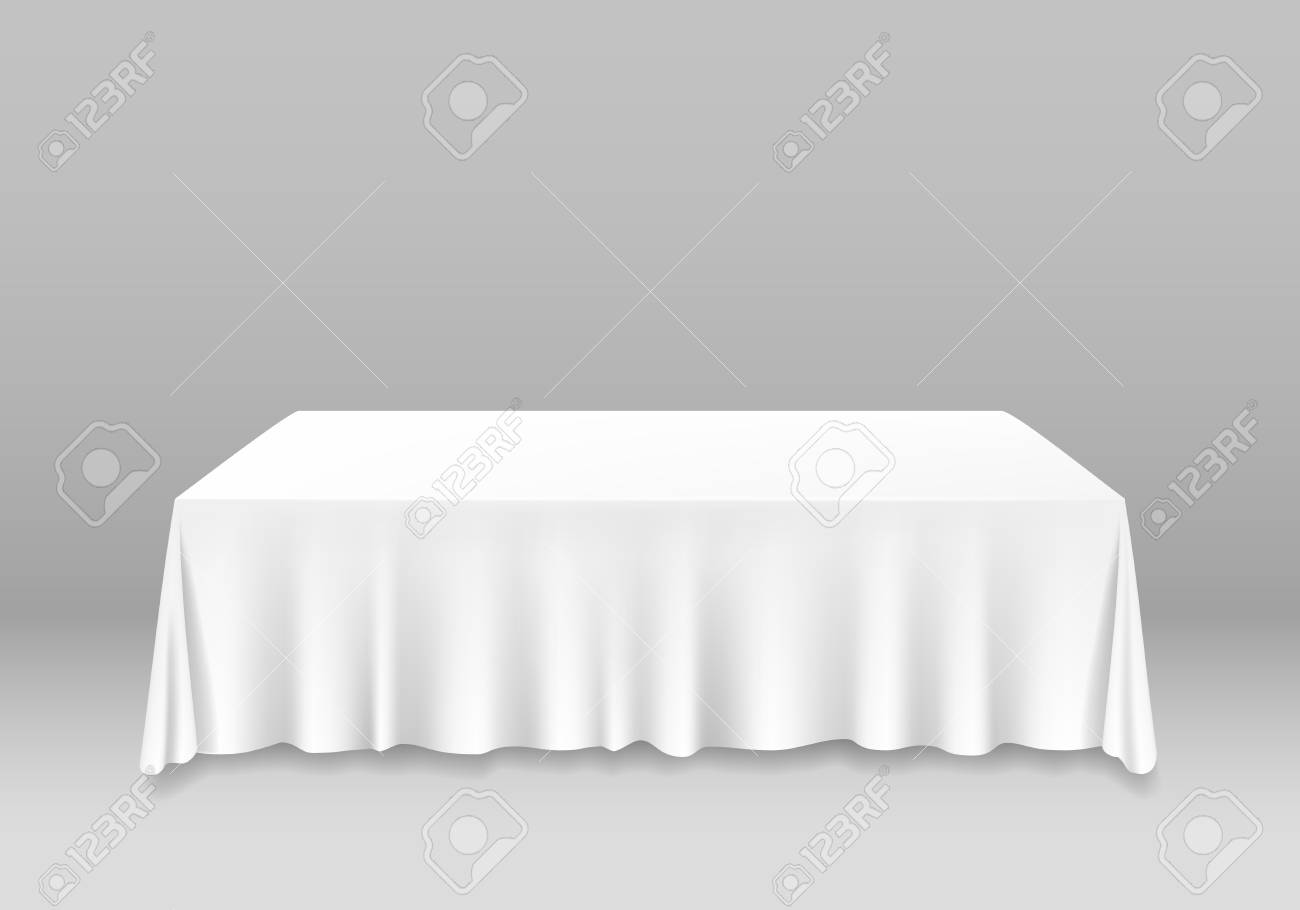 Realistic Detailed 3d White Blank Table with Tablecloth Template Mockup for Banquet or Celebration in Cafe and Restaurant. Vector illustration - 123995130