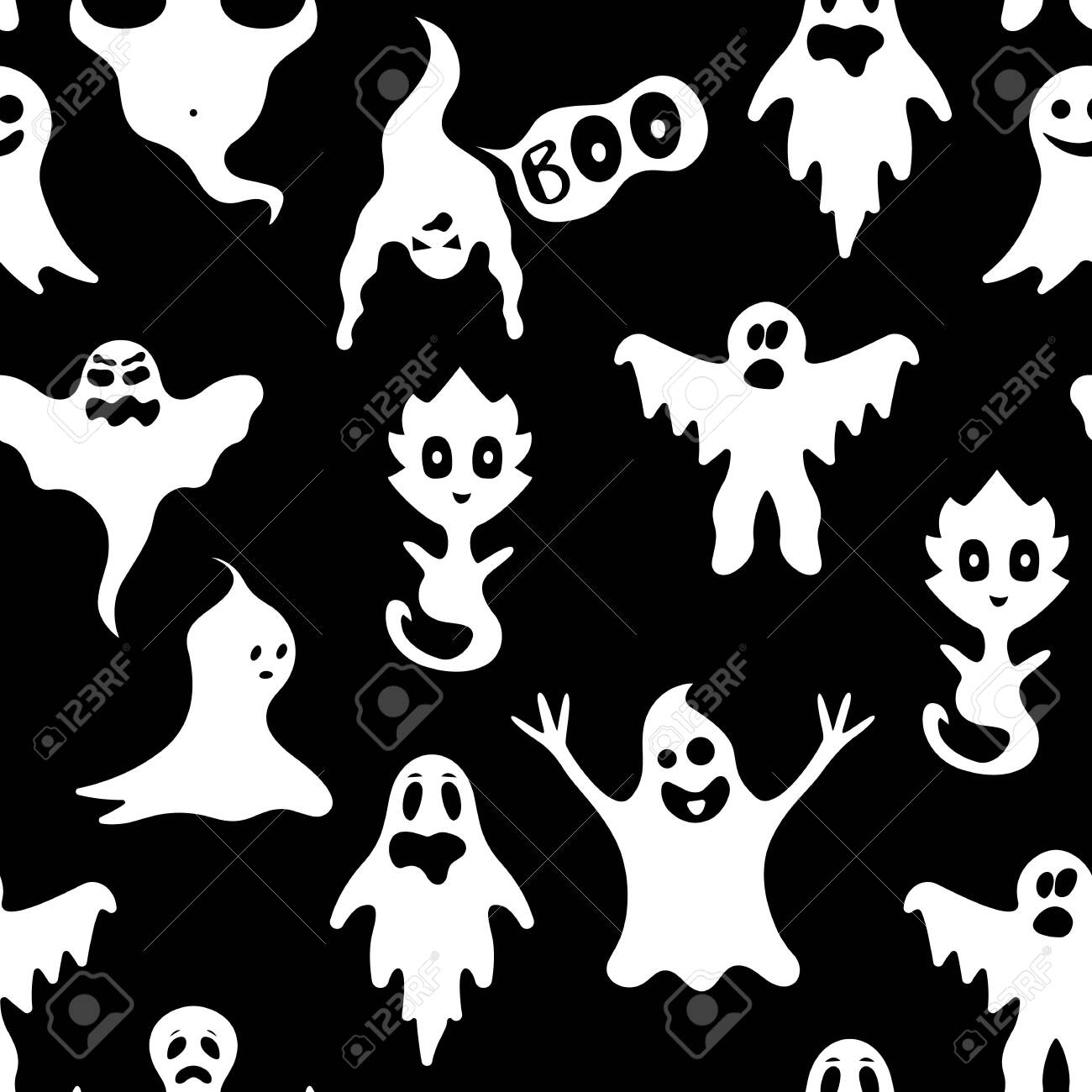 Cartoon White Ghosts Characters Seamless Pattern Background. Vector - 133427208