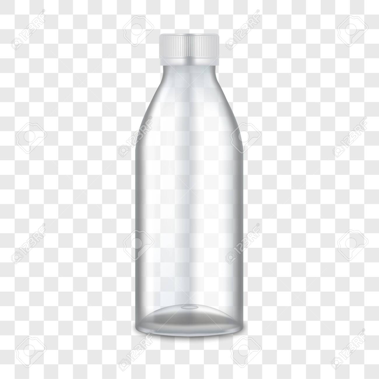 Realistic 3d Detailed Empty Mockup Pet Plastic Bottle for Water or Drink on a Transparent Background. Vector illustration - 133935312