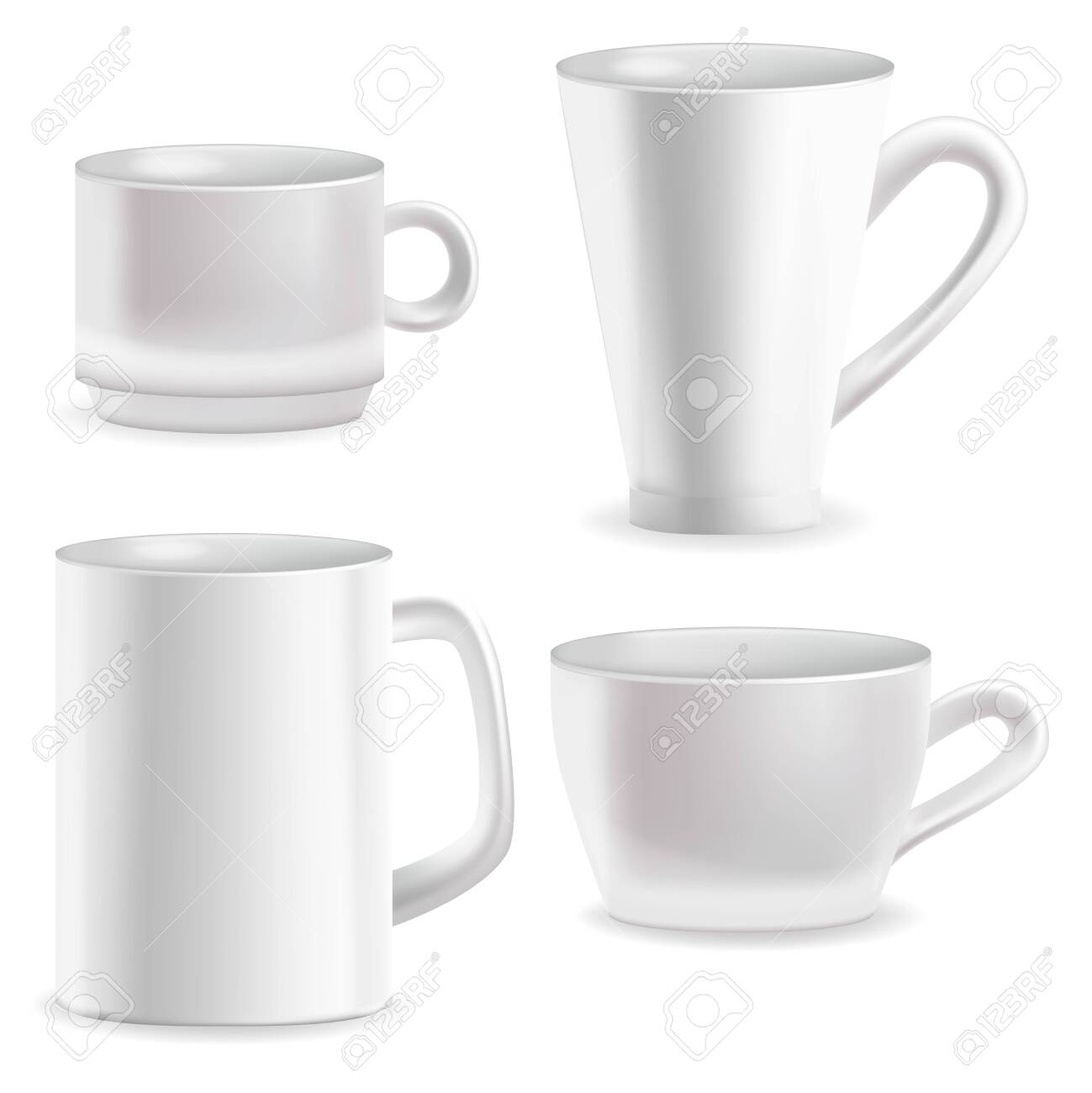 Realistic Detailed 3d Blank White Coffee Mugs Template Mockup Set. Vector - 143976840