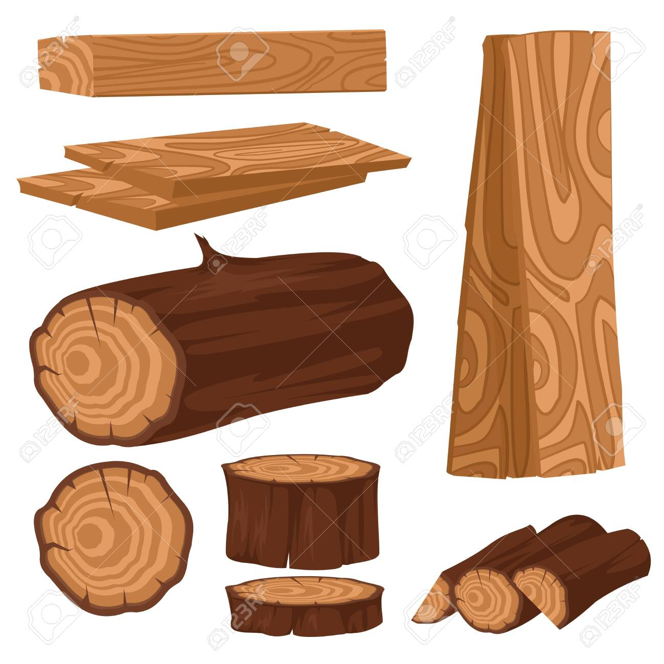 Cartoon Color Wood Industry Raw Materials Icons Set. Vector - 148700525