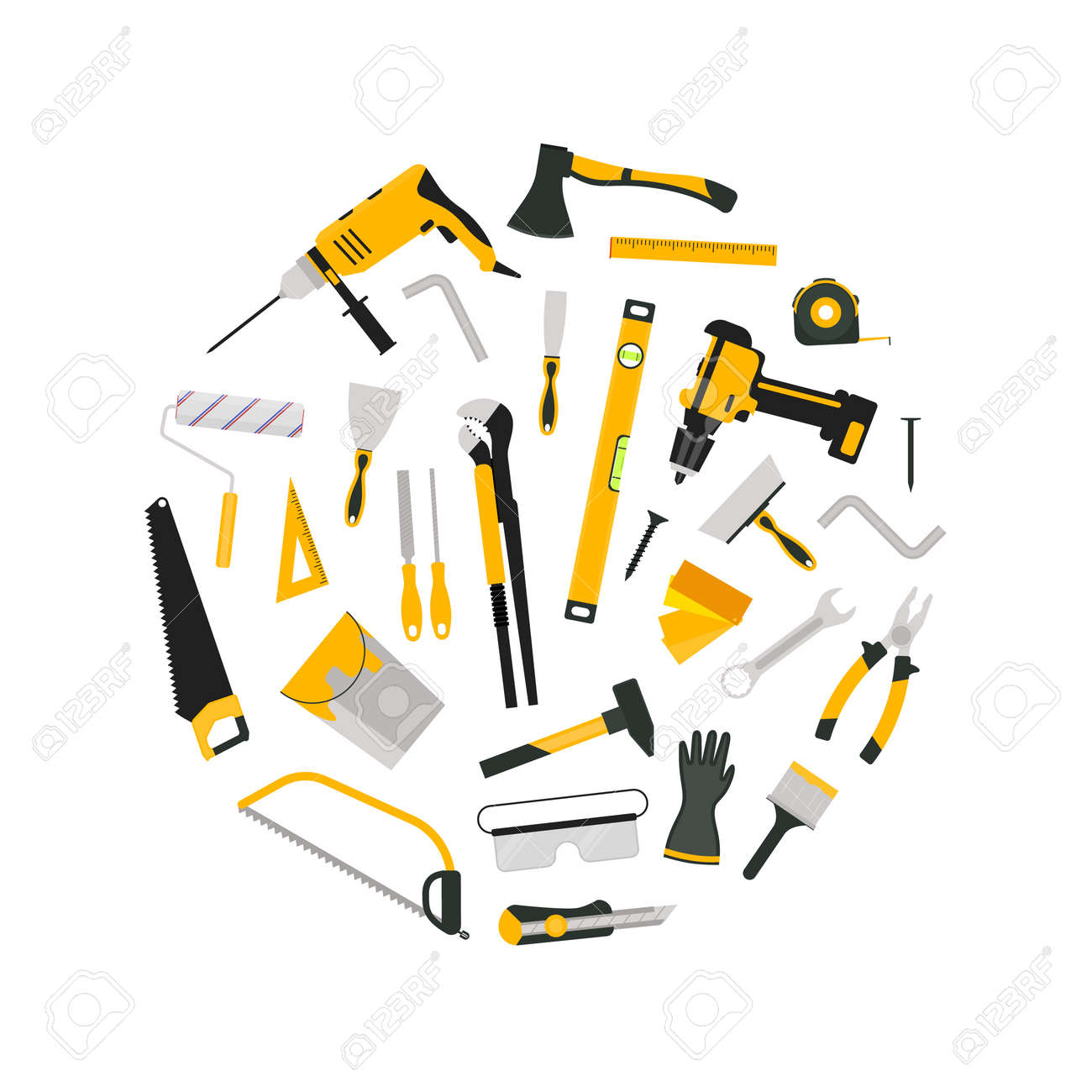 Cartoon Color Hand Tool Concept Round Design Template Banner. Vector - 157047222
