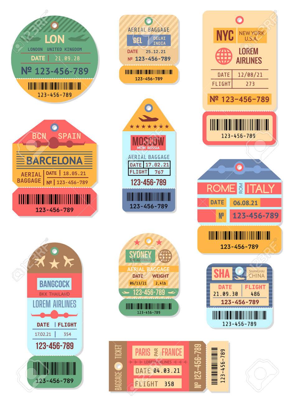 Cartoon Color Baggage Retro Tags Set. Vector - 165034794