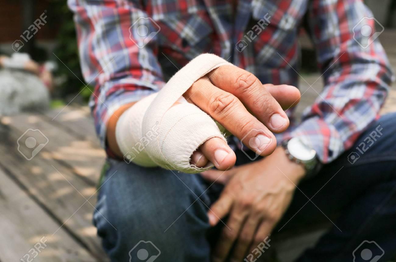Splint broken bone hand Injured in blur background - 38975538